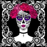 Menina com composição do crânio do açúcar Dia mexicano dos mortos Fotografia de Stock
