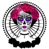 Menina com composição do crânio do açúcar Dia mexicano dos mortos Fotos de Stock