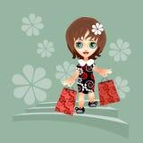 Menina com compra Imagem de Stock