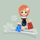 Menina com compra Fotografia de Stock Royalty Free