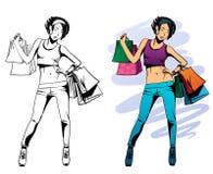 Menina com compras Fotografia de Stock
