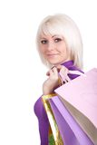 A menina com compras fotografia de stock