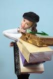 Menina com compras. Imagens de Stock
