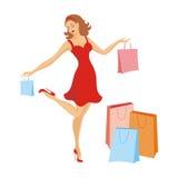 A menina com compras Foto de Stock