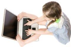 Menina com computador foto de stock royalty free