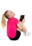 Menina com computador da tabuleta imagens de stock