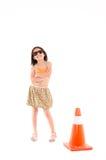 Menina com cone da construção imagens de stock