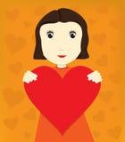 Menina com coração ilustração royalty free