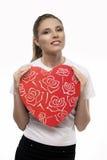 Menina com coração Imagens de Stock