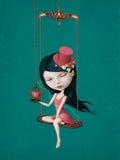 Menina com coração ilustração do vetor