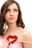 A menina com coração Imagens de Stock Royalty Free