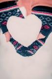 Menina com coração da neve Imagem de Stock Royalty Free