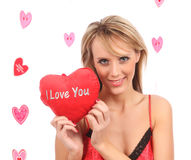 Menina com coração vermelho Fotografia de Stock