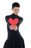 Menina com coração vermelho Imagens de Stock Royalty Free