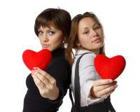 Menina com coração vermelho nas mãos Imagens de Stock Royalty Free