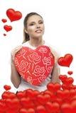 Menina com corações Fotografia de Stock