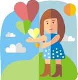 Menina com corações Imagem de Stock