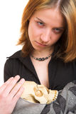 Menina com crânio Foto de Stock Royalty Free