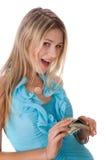 Menina com dólares fotografia de stock