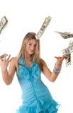 Menina com dólares imagens de stock royalty free