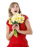 Menina com daffodils Foto de Stock