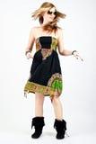 Menina com dança longa do cabelo Imagens de Stock