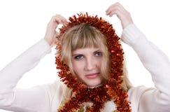 Menina com decoração do Natal Fotografia de Stock Royalty Free