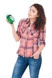 Menina com despertador Fotografia de Stock Royalty Free
