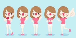 Menina com dia vermelho do nariz ilustração stock