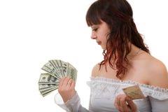 Menina com dinheiro fotos de stock