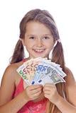 Menina com dinheiro Imagens de Stock