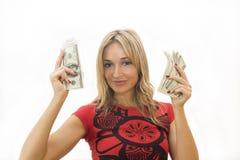 Menina com dinheiro Foto de Stock