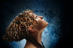 Menina com dobras africanas Fotos de Stock