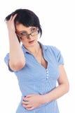 Menina com dor de cabeça Imagens de Stock Royalty Free