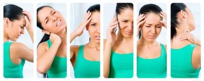Menina com dor de cabeça foto de stock