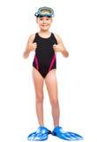 Menina com equipamento do snorkel Fotos de Stock