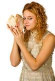 Menina com escudo Imagem de Stock Royalty Free