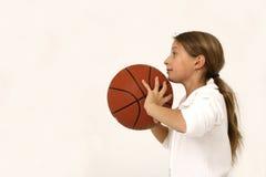 Menina com esfera da cesta Foto de Stock Royalty Free