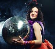 Menina com esfera do disco Fotografia de Stock Royalty Free