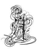 Menina com espada Fotografia de Stock