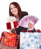 Menina com euro do dinheiro, caixa de presente e saco. Imagens de Stock Royalty Free