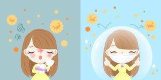 Menina com febre de feno ilustração stock