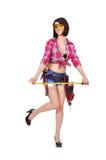 Menina com fita métrica Fotografia de Stock Royalty Free