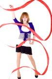 Menina com fita vermelha Fotos de Stock