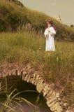 Menina com flauta Imagem de Stock