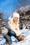 Menina com floco de neve foto de stock