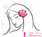 Menina com flor cor-de-rosa Foto de Stock Royalty Free