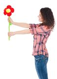 Menina com flor grande Fotografia de Stock