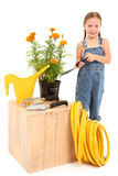 Menina com flores Fotos de Stock Royalty Free