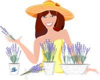 Menina com flores da alfazema Foto de Stock Royalty Free